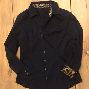 Express black cheetah button down top Medium
